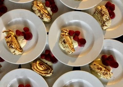 Roulade dessert with fresh raspberries from Foxes Catering