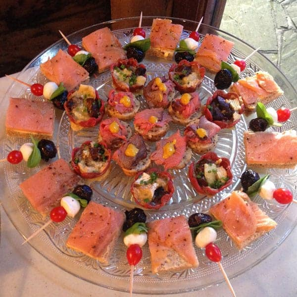 Canapes menu dishes from Foxes Catering