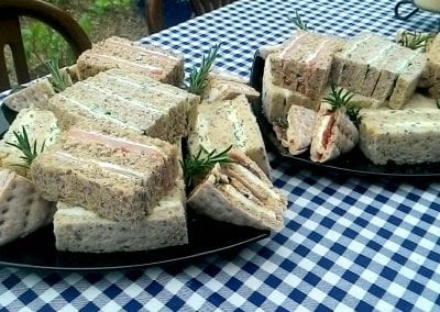 Selection of finger sandwiches on mixes breads from Foxes Catering