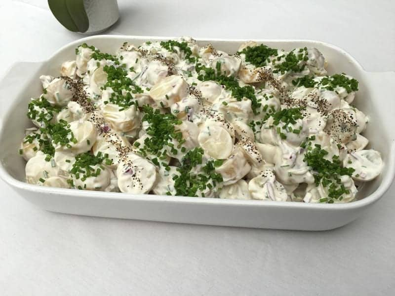Potato, gherkin and chive salad from Foxes Catering