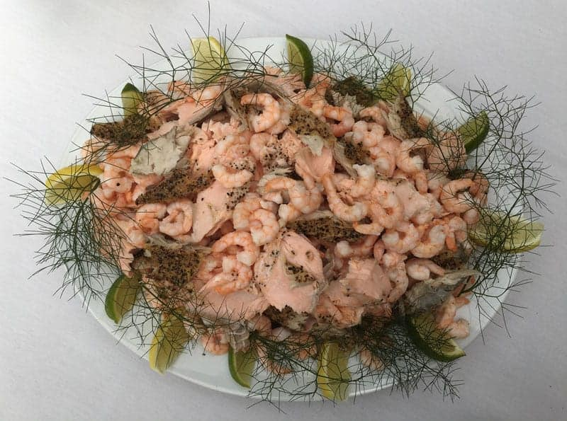 Mixed fish platter with salmon and prawns - Foxes Catering