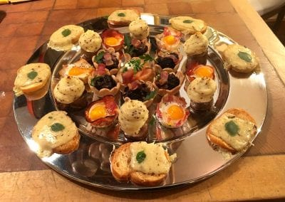 Savoury Canapes with Sausage Mustard Mash from Foxes Catering