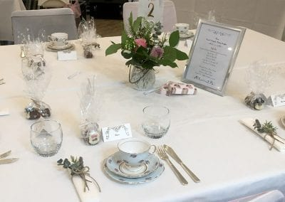 Wedding table setting for Afternoon Tea - Foxes Catering