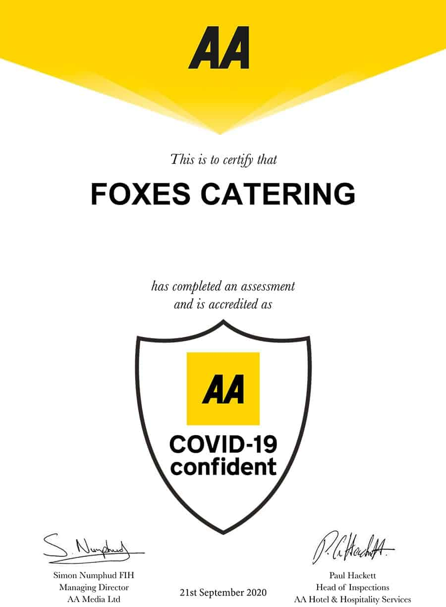 Foxes Catering accredited AA Covid-19 Confident