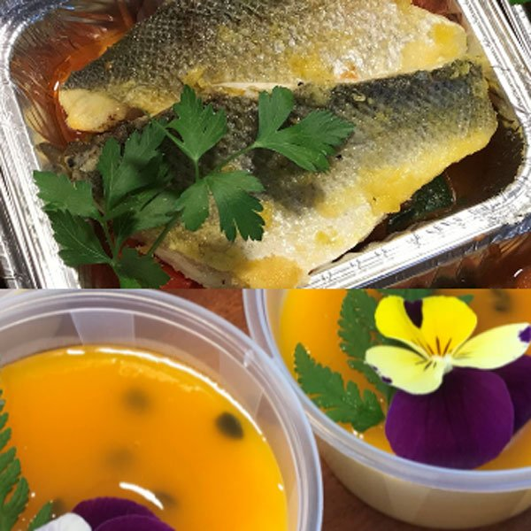 Sea Bass main, followed by Passion Fruit Pot, food delivery from Foxes Catering